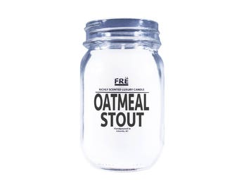Oatmeal Stout Beer Scented Candle in Reusable Mason Jar