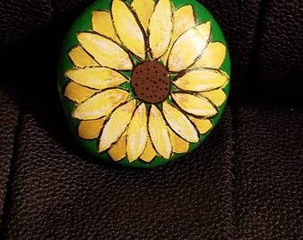 Hand painted river rock, sunflower