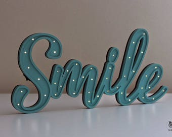 Sign lights, luminous poster, Leds, Smile, decoration, gift, letters with light.