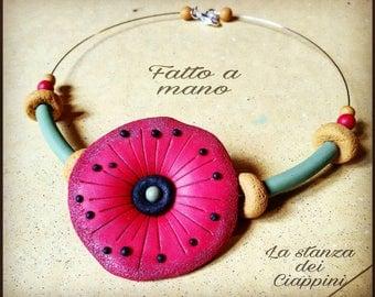 Poppy flower handmade necklace