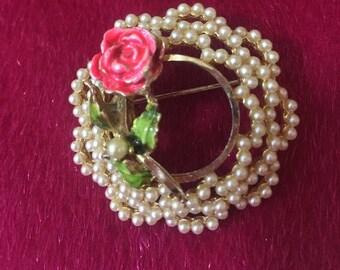 Vintage BSK Seed Pearl & Rose Brooch