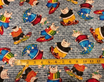 Pigs on skateboards fabric by the yard, pig print fabric, cool pig printed quilting cotton, quilting fabric, pigs grey brick sewing fabric