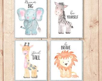 Safari Nursery Prints, Watercolor Nursery Art, Safari Animal Prints, Nursery Printable, Grand Opening Sale