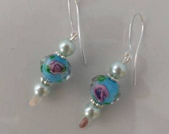 Turquoise and Pearl Spring Flower Earrings.