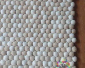 Rectangle Felt Ball Rug. White and Off-White Random Mix. 100 % Wool Carpet (Free Shipping)