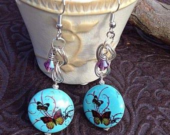 Howlite Butterfly & Swarovski Crystal Earrings