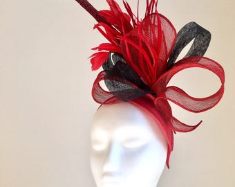 Red & Black Fascinator