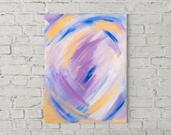 Hand painted acrylic painting on canvas main colors Blue, purple, violet, gold, white