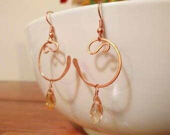 Copper and Crystal Elegant Dangle Earrings