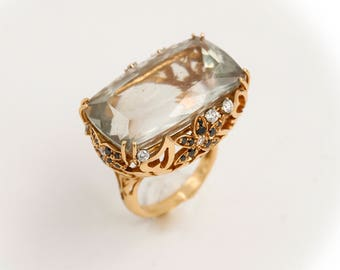 18kt Gold ring, with diamonds and citrine, handcrafted