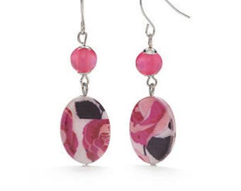 Silver Tone Rose Double Drop Earrings