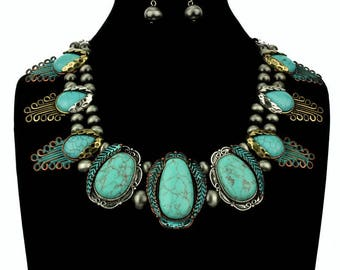 NWT* Navajo Pearl Turquoise Stone Bib Necklace Antique Patina,Copper&Silver Set