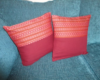 Burgundy Red and Orange Geometric Printed Cushion Cover