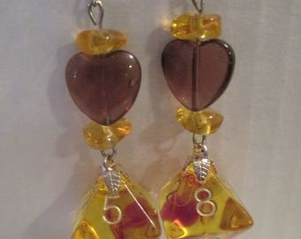 Dice Earrings With Glass Heart Beads D8