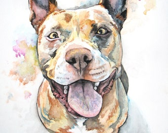 PET PORTRAIT 11x15 commission custom, abstract realism watercolor