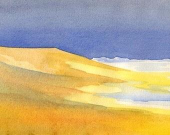 Watercolor landscape North Sea Föhr