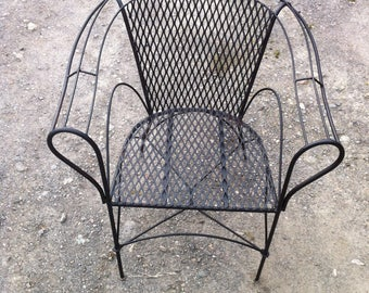 Re-purposed steel wire chair | rescued from landfill