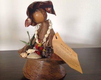 Vintage Maoli of Hawaii Doll, the original handmade Hawaiian coconut fiber doll