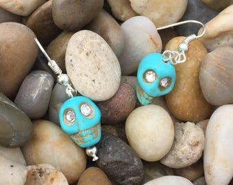 Handmade earrings: Turquoise skull with Swarovski crystal eye inserts