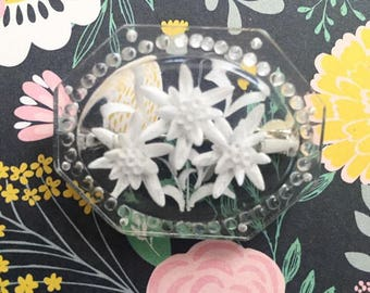 1950's Lucite Brooch - Clear Plastic with White Flowers - Pin Up