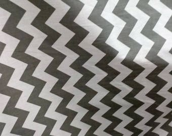 """Fabric Poly cotton Chevron grey/white / 60"""" Wide / Sold by the Yard"""