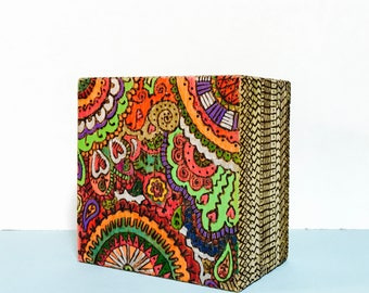 Wood Burned Box & Hand Painted Colorful Funky Trinket Storage Box Decor