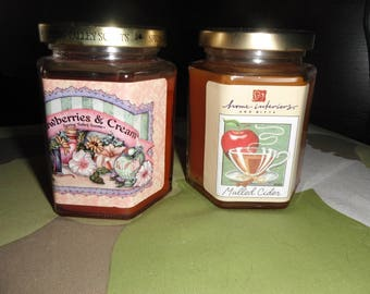 Home Interiors set of 2 candles - Strawberry & Cream - Mulled Cider