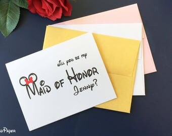 Disney Will You Be My Maid of Honor card, Custom Wedding Inviation card, Custom Wedding card, Maid of Honor card, Custom Bridesmaid card