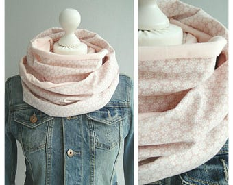 Loop, circle scarf, pink / white, apricot