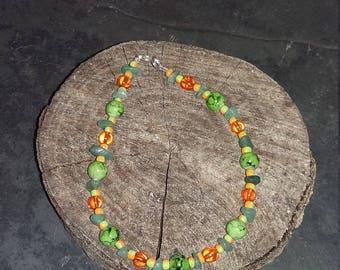 Green and Orange Anklet