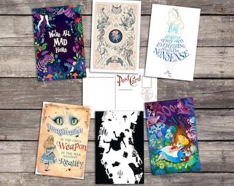 Alice in Wonderland set 6 postcards | mad hatter poster |  white rabbit print |  cheshire cat illustration | tea party | postcard set