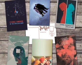 Eternal Sunshine of the Spotless Mind set 6 postcards | kate winslet movie art poster | film art print | postcard set