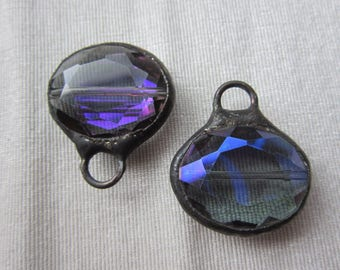 Hand Soldered Medium Oval Crystal in Blue Purple