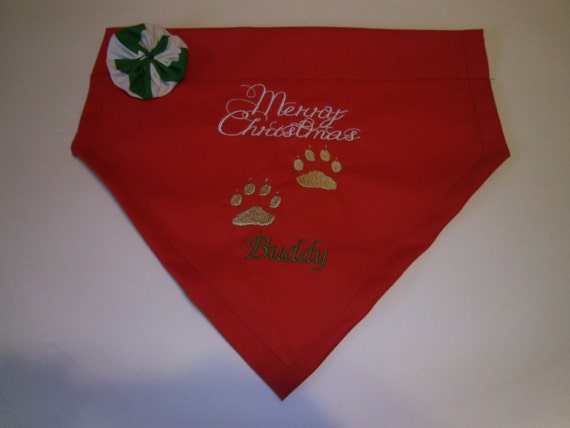 Dog Bandana, Merry Christmas paws, Personalized, Embroidery, Flower, Over the Collar