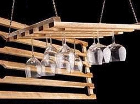Hanging Wine Glass Rack 5 Row 24 Inch