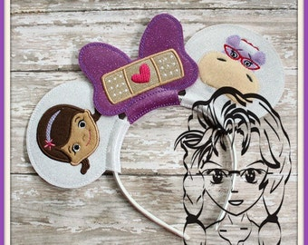 Dr HiPPO, LaMB, DiNO Inspired (5 Piece) Mr Miss Mouse Ears Headband ~ In the Hoop ~ Downloadable DiGiTaL Machine Emb Design by Carrie