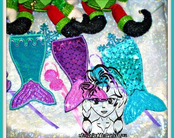 ELF SiZE MeRMAID BLaNKET Bathing Suit Holiday Christmas ~ In the hoop - INSTaNT Download Machine Embroidery Design by Carrie
