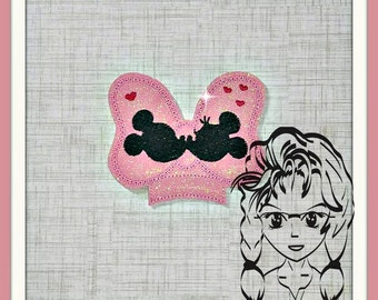 BoW Kissing Center (Add On ~ 1 Pc) Mr Ms Mouse Ears Headband ~ In the Hoop ~ Downloadable DiGiTaL Machine Embroidery Design by Carrie