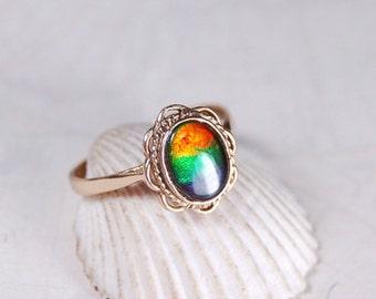 Ammolite ring.Grade AA 4 colour.Dainty,Feminine in yellow gold.#123116