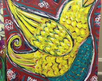 joyful- Mixed Media Bird Painting