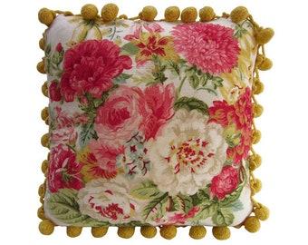"PILLOW SALE—Handmade Pillow, ""Mums & Roses"", Vintage Fabric + Ball Fringe, 12"" x 12"""