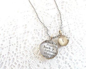 lucky one necklace, inspirational jewelry, secret message necklace, sterling silver
