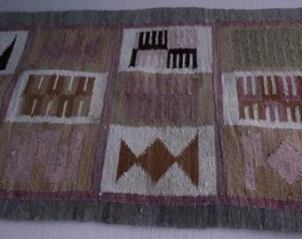 "Vintage Wool Handwoven Rug - 22"" x 60"" ( 5' long ) Boho Bohemian Decor / Wall Hanging or hallway rug"
