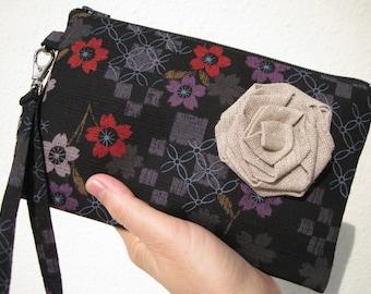 WEDDING CLUTCH, gift pouch, wristlet, 2 pockets, cotton,black,medium,, iphone - Red purple flowers