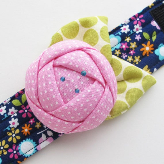 Rose Pincushion Cuff | Wearable Flower Pin Cushion Bracelet | Gift for Someone Who Loves to Sew or Quilt