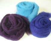 BFL Sliver Carder Dyed- Mini Bun Solid Color - Set of 3 - 1 oz each Knitspin