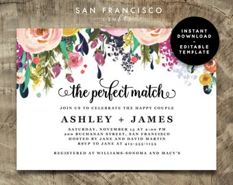 Couples Shower Invitation - INSTANT DOWNLOAD |  Editable Couples Shower Template | The Perfect Match | Ashley Collection | Printable PDF