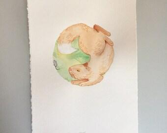 Original Watercolor - Full Hunter Moon
