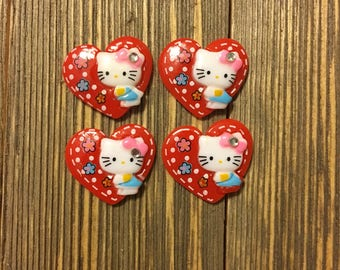 Kitty Character Cabochons- Red Hearts