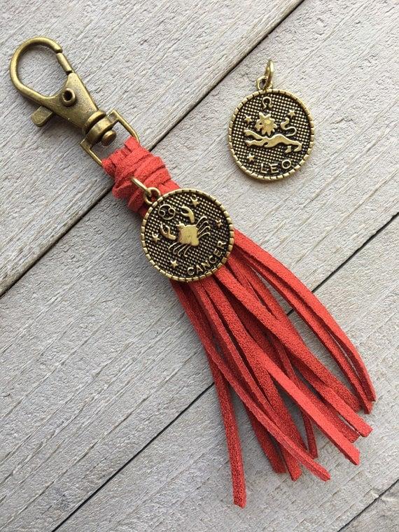 "July Birthday Gift - Ruby Red Shimmer Tassel with Cancer or Leo Zodiac Charm - 3.5"" Mini Tassel, Tassel Purse Charm, Handbag Charm"